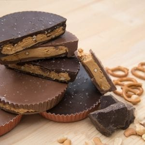 milk and dark pretzel pb cup